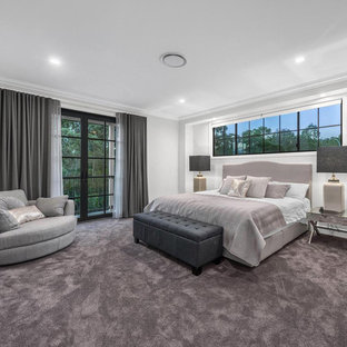 Inspiration for a bedroom in Brisbane with white walls, carpet and grey floor.