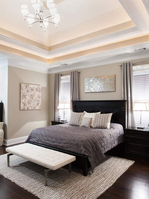 Example Of A Transitional Bedroom Design In Atlanta With Gray Walls