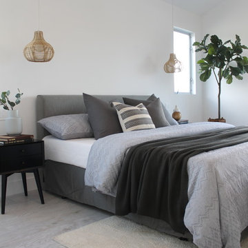 Neutrals and Gray with Basket Pendants Over Nightstands in Master Bedroom