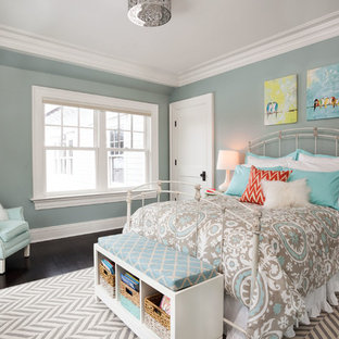 Inspiration for a mid-sized timeless dark wood floor bedroom remodel in New York with blue walls