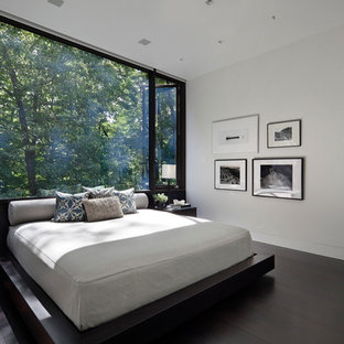 Large Minimalist Dark Wood Floor And Brown Bedroom Photo In New York With White Walls