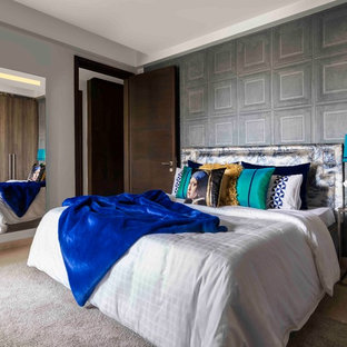 Inspiration for an eclectic master marble floor and beige floor bedroom remodel in Delhi with multicolored walls