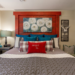 Example of a mountain style bedroom design in Other with beige walls