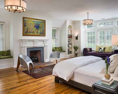 Inspiration For A Large Timeless Master Medium Tone Wood Floor And Brown Bedroom Remodel In