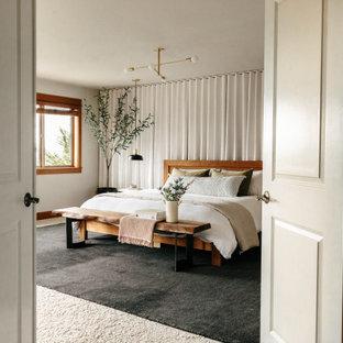 Diseño de dormitorio principal, actual, grande, con paredes grises, moqueta, chimenea de doble cara, marco de chimenea de baldosas y/o azulejos y suelo beige