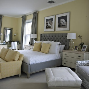 Inspiration For A Beach Style Bedroom Remodel In New York With Yellow Walls