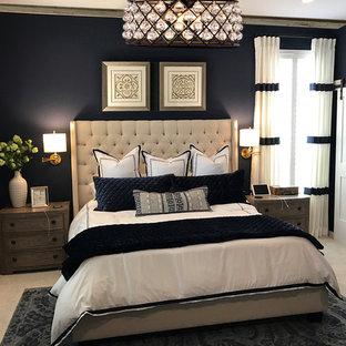 Imagen de dormitorio principal, contemporáneo, grande, con paredes azules, moqueta, chimenea tradicional, marco de chimenea de piedra y suelo gris