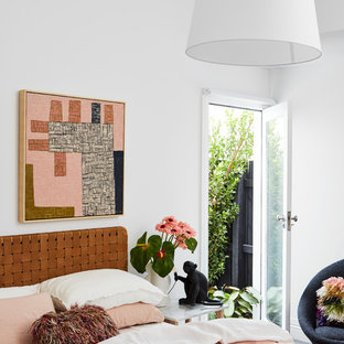Design ideas for a contemporary bedroom in Melbourne with white walls.