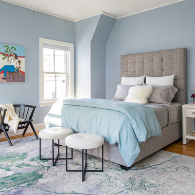 Example of a large transitional master medium tone wood floor and brown floor bedroom design in Boston with blue walls
