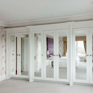 Design ideas for a contemporary bedroom in Oxfordshire with multi-coloured walls.