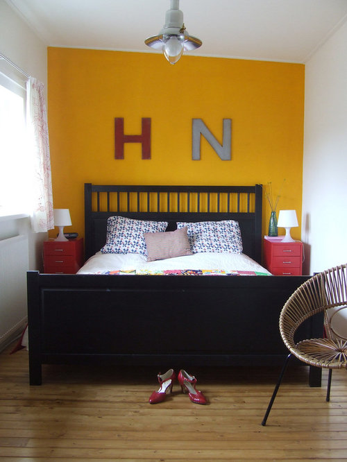 yellow accent wall | houzz