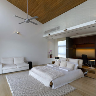 Design ideas for a contemporary bedroom in Singapore with white walls, light hardwood floors and no fireplace.