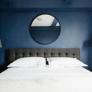 ニューヨークの中くらいのトランジショナルスタイルのおしゃれな主寝室 (青い壁、濃色無垢フローリング、暖炉なし、茶色い床)