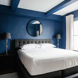Idee per una camera padronale tradizionale di medie dimensioni con pareti blu, parquet scuro, nessun camino e pavimento marrone