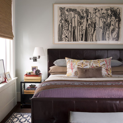 Inspiration for a contemporary bedroom remodel in New York with gray walls
