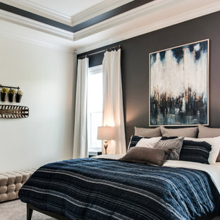 Design ideas for a mid-sized transitional master bedroom in Nashville with multi-coloured walls, carpet, beige floor and recessed.
