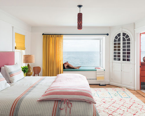 Fashion Inspired Guest Room: Mid-Sized Beach Style Bedroom Design Ideas, Remodels