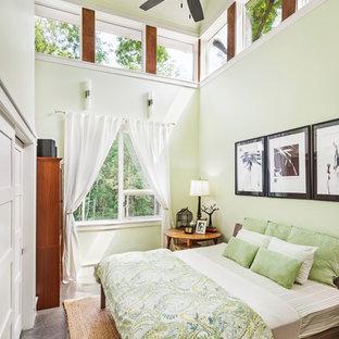 Modern inredning av ett sovrum, med betonggolv