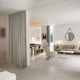 Ejemplo de dormitorio principal, minimalista, grande, con paredes blancas, suelo de madera clara, chimenea tradicional, marco de chimenea de yeso y suelo beige