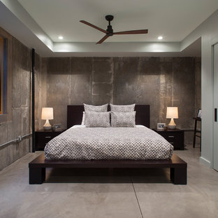 contemporary bedroom design.  Contemporary Bedroom  Contemporary Concrete Floor And Gray Bedroom Idea In Denver  With Walls On Contemporary Design D