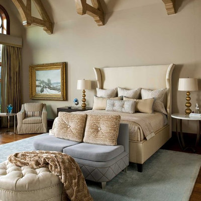 Inspiration for a timeless bedroom remodel in Dallas with beige walls