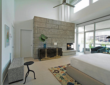 North Hollywood Residence Master Bedroom Concrete Wall