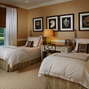 Inspiration for a small beach style guest bedroom in Miami with brown walls and carpet.