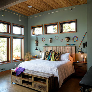 Eclectic brown floor bedroom photo in Other with green walls