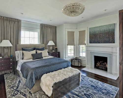 Example Of A Classic Dark Wood Floor Bedroom Design In Chicago With Gray  Walls And A