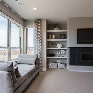 Design ideas for a mid-sized modern master bedroom in Denver with grey walls, carpet, a ribbon fireplace, a tile fireplace surround and grey floor.