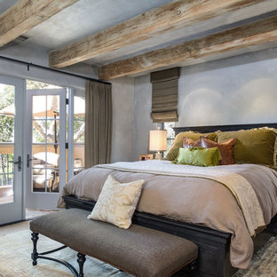 Example of a large mountain style guest carpeted and beige floor bedroom design in San Francisco with gray walls
