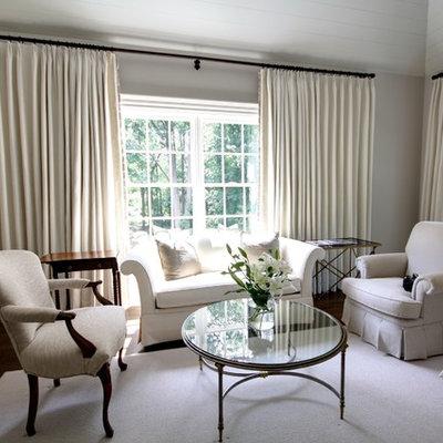 Elegant master dark wood floor bedroom photo in Atlanta with beige walls