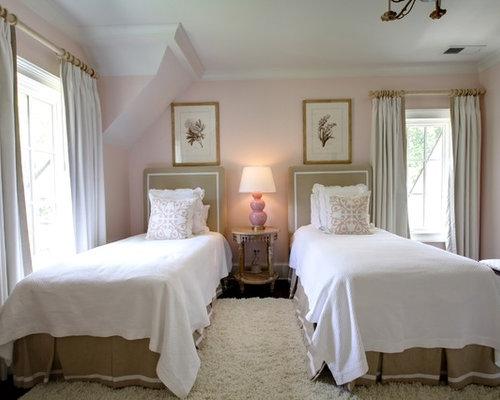 Traditional Guest Bedroom Idea In Atlanta With Pink Walls