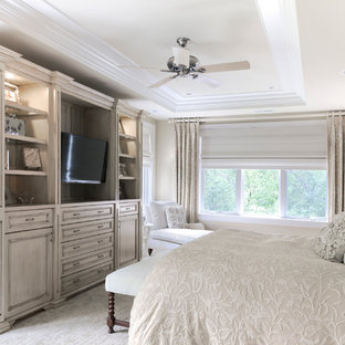 Inspiration for a timeless bedroom remodel in Chicago with beige walls