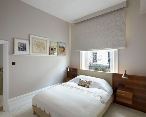 'Inspiration for a modern bedroom remodel in London with gray walls' from the web at 'https://st.hzcdn.com/fimgs/c4f136e60217601c_3787-w500-h400-b0-p0--.jpg'