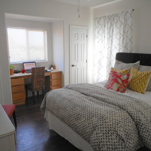 Example of a mid-sized eclectic guest dark wood floor bedroom design in San Luis Obispo with white walls