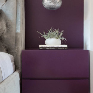 Inspiration for a small contemporary guest bedroom remodel in New York with purple walls