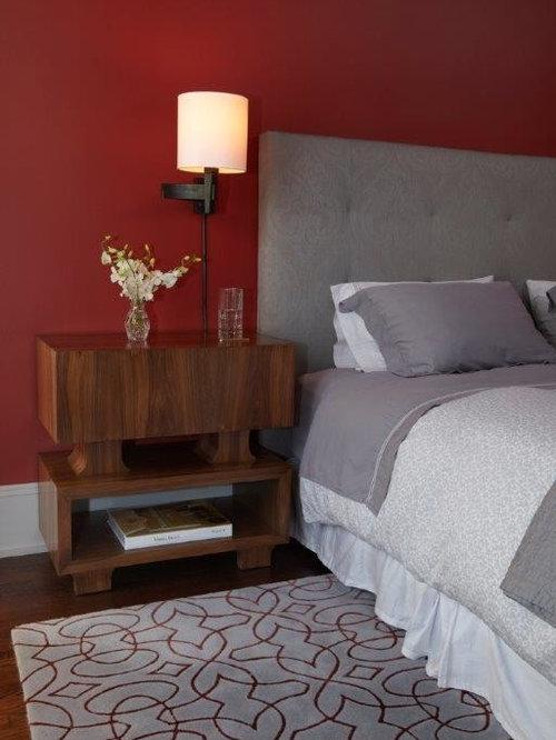 Chambre moderne avec un mur rouge photos et id es d co for Moquette moderne chambre