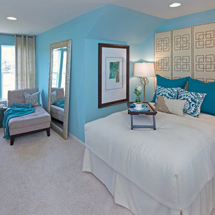 Example of a trendy carpeted bedroom design in DC Metro with blue walls