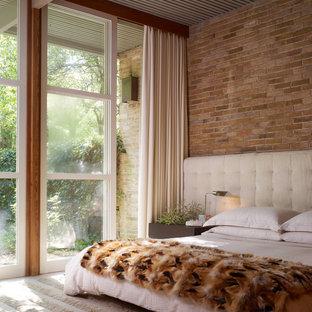 ダラスの中くらいのミッドセンチュリースタイルのおしゃれな主寝室 (カーペット敷き、赤い壁、暖炉なし、ベージュの床) のレイアウト