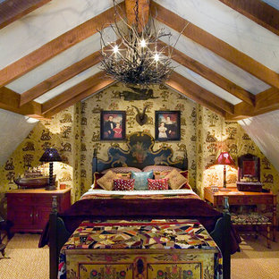 Inspiration for an eclectic carpeted bedroom remodel in Boston with multicolored walls