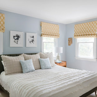 Inspiration for a transitional master carpeted and beige floor bedroom remodel in Boston with blue walls