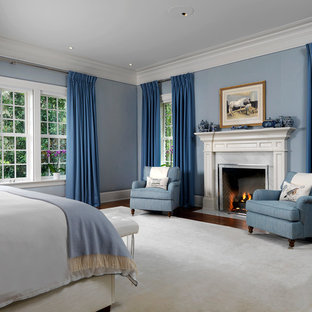 Elegant dark wood floor and brown floor bedroom photo in Tampa with blue walls and a standard fireplace