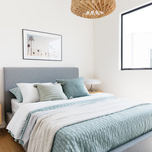 Ocean Blue Tones and Wood Pendant in Modern Bedroom