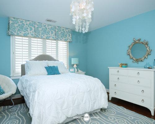 Aqua girls bedroom houzz for Aquamarine bedroom ideas