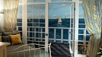 Ocean View Mural in Master Bedroom by Tom Taylor of Mural Art LLC, in Virginia
