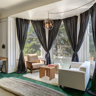 Bedroom - small transitional master carpeted and green floor bedroom idea in San Francisco with white walls