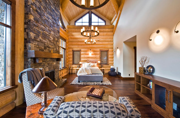 Rustic Bedroom by Sticks + Stones Design Group inc.
