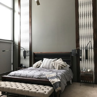 Bedroom - contemporary carpeted and beige floor bedroom idea in Other with gray walls