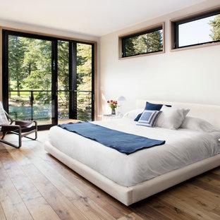 Exemple d'une grand chambre parentale moderne avec un mur blanc, une cheminée double-face, un manteau de cheminée en plâtre et un sol en bois clair.